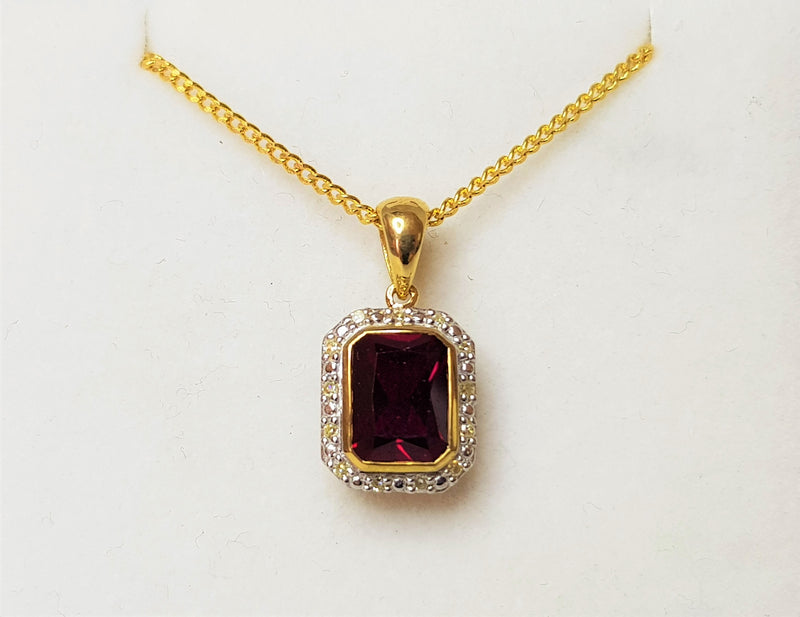 9ct Yellow Gold Garnet and Diamond Halo Pendant