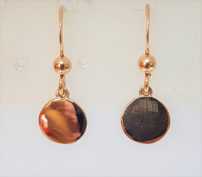 8mm Disc Rose Gold Plated Sterling Silver Hooks