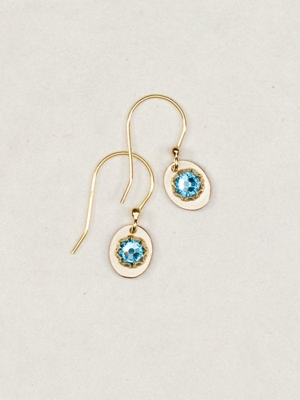 Julia Gold/Blue Crystal Earrings