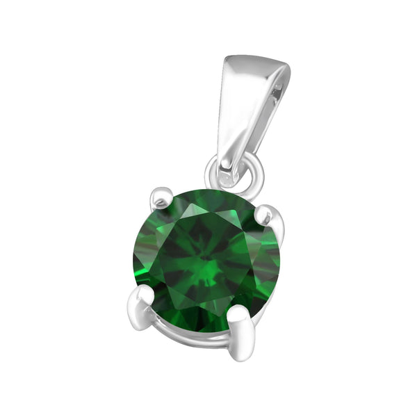 May Birthstone CZ Sterling Silver Pendant