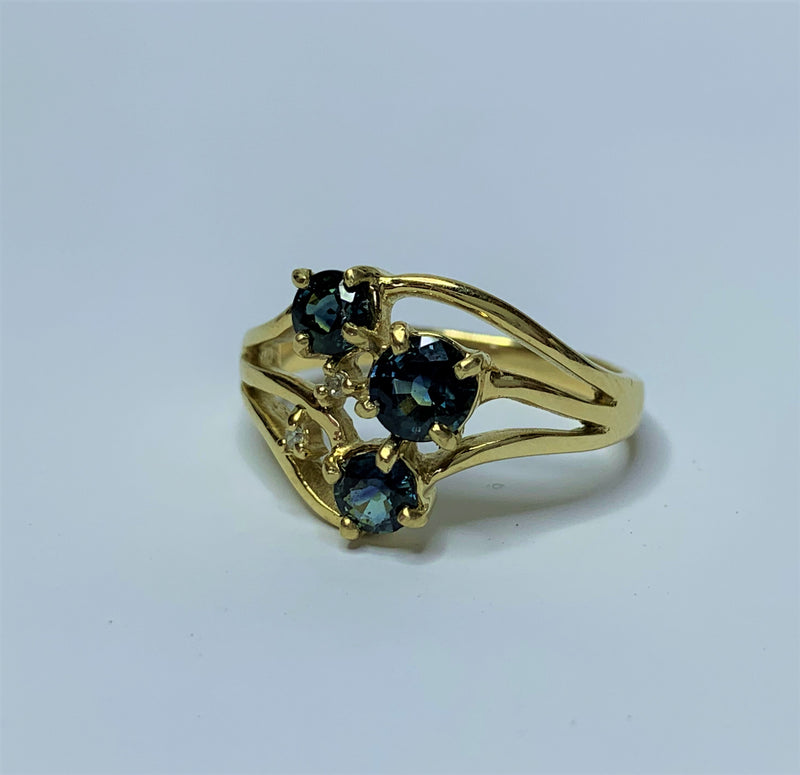 9ct Yellow Gold 3x Sapphire and Diamond Split Band Ring