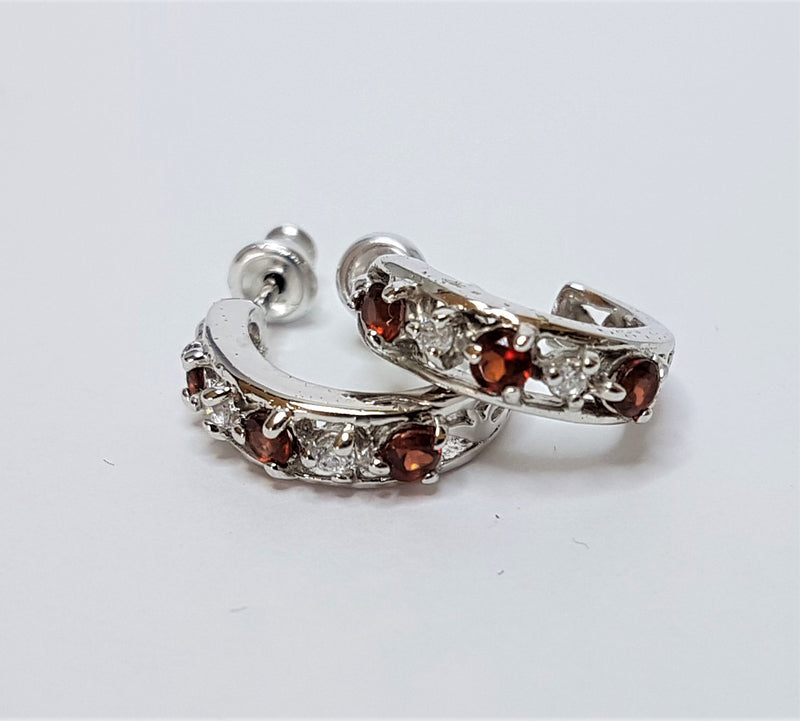 Sterling Silver Garnet Cubic Zirconia Hoop Earrings