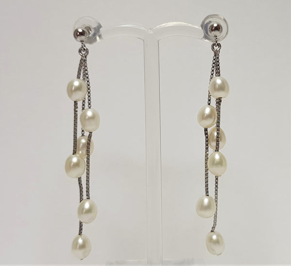 White Pearl Drop Sterling Silver Earrings