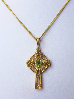 9ct Yellow Gold Sapphire Celtic Cross Pendant