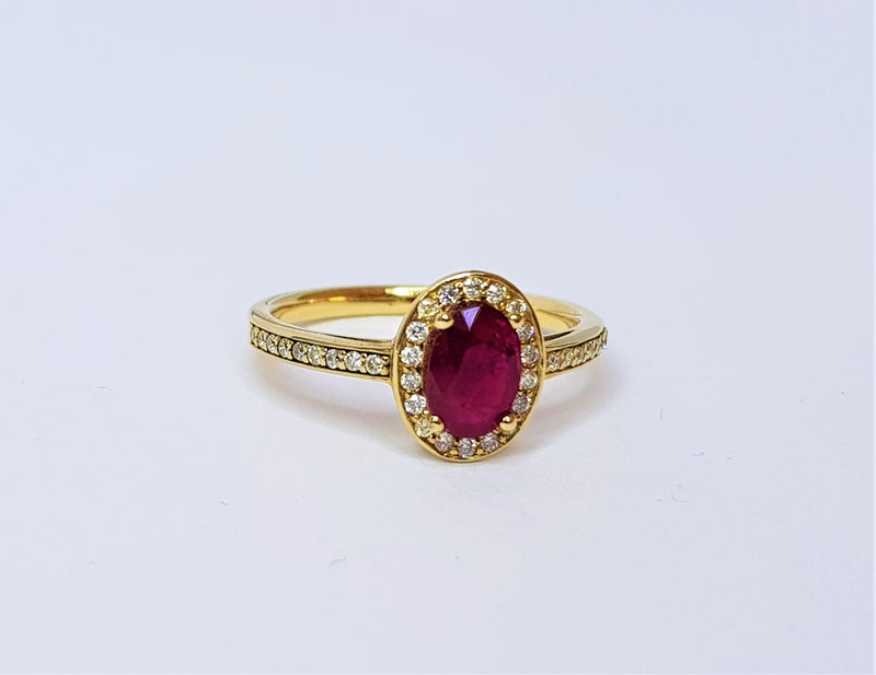 9ct Yellow Gold Ruby and Diamond Halo Ring
