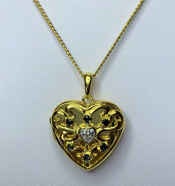 Sapphire and CZ Heart Locket Gold Plate Sterling Silver Pendant