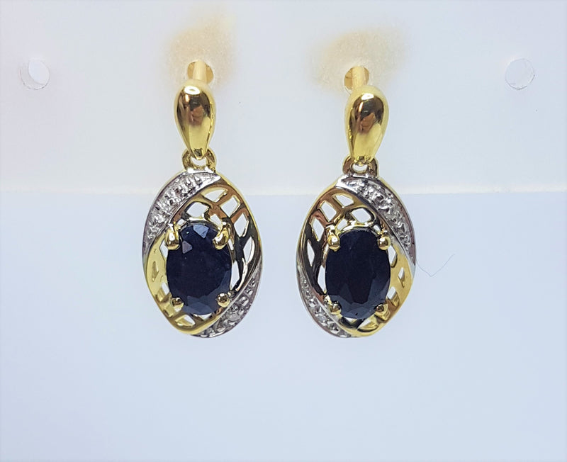 Oval Sapphire and Diamond Drop 9ct Yellow Gold Studs