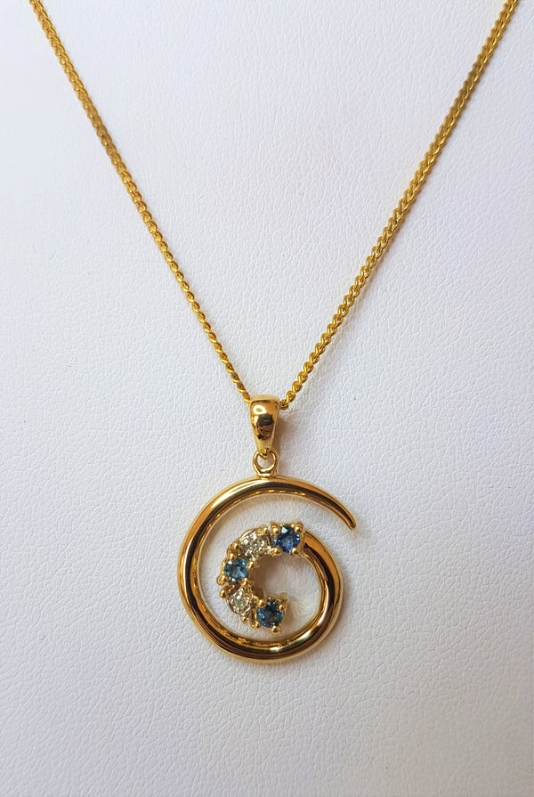 3 Sapphire & Diamond Swirl 9ct Yellow Gold Pendant