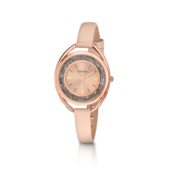 Marbella by Isadora Rosetone Crystal Filed Case with Mushroom Cognac Leather Strap Watch