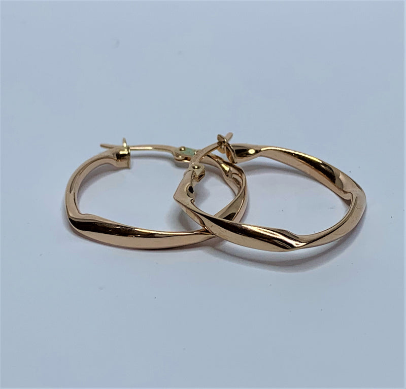 Squared Twist 9ct Rose Gold Silver Filled Hoops
