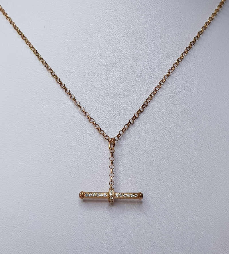 9ct Rose Gold Belcher Chain with CZ T-Bar