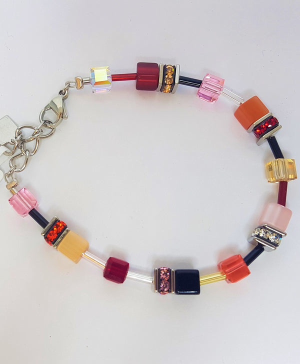 Vivid Geo Cube Swarovski Coloured Crystal Bracelet