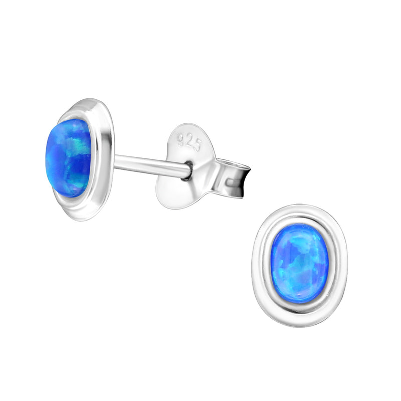 Pacific Blue Oval Opal (Syn) Sterling Silver Studs