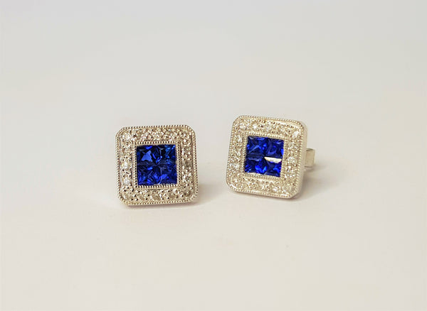 18ct White Gold Sapphire and Diamond Square Studs