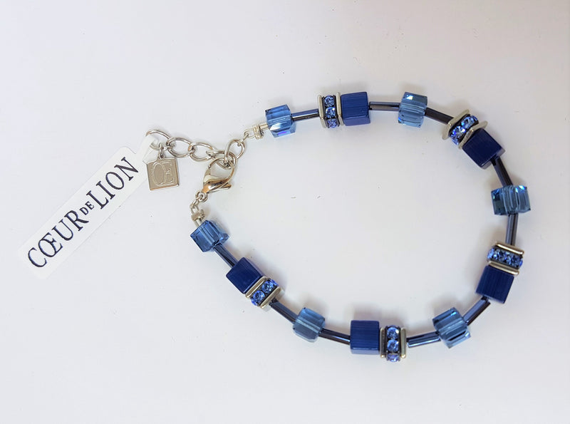 Blue Geo Cube Stainless Steel Rhinestone Glass Synthetic Tigers Eye Polaris Haematite Swarovski Crystal Bracele
