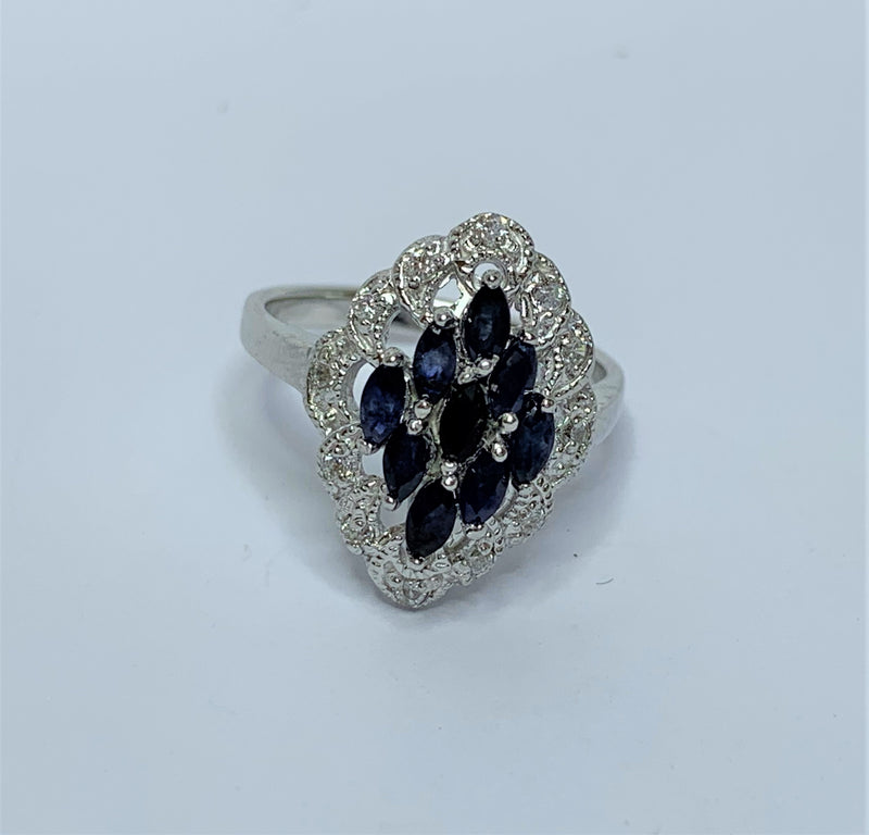 Marquee Sapphires and CZ Sterling Silver Ring