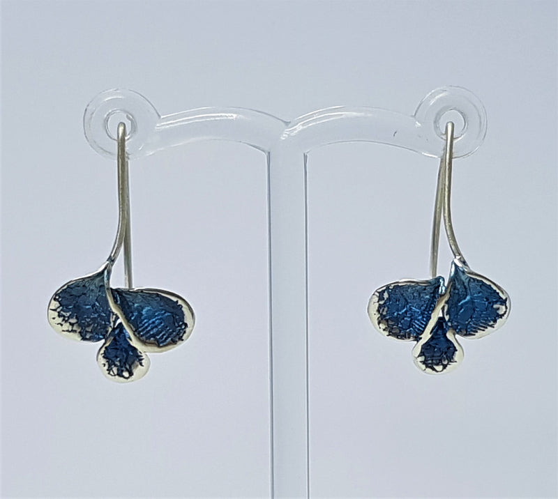 Azure Powdered Enamel Petal Design Sterling Silver Earrings