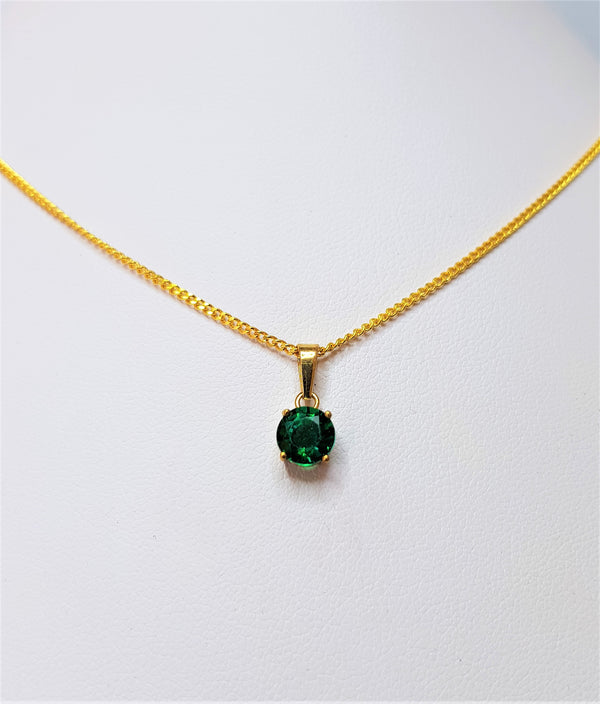 9ct Yellow Gold Round Cr Emerald Pendant
