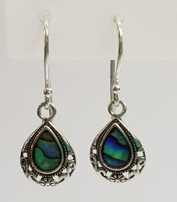 Abalone Shell Filigree Sterling Silver Shepherd Hooks