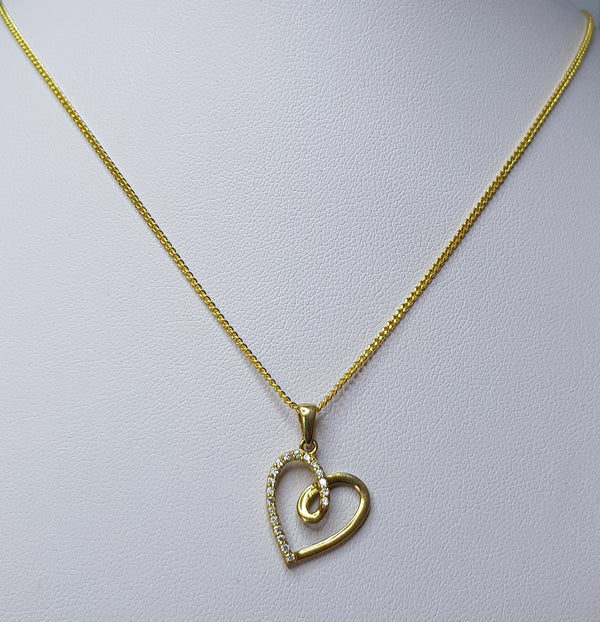 9ct Yellow Gold CZ Heart Pendant