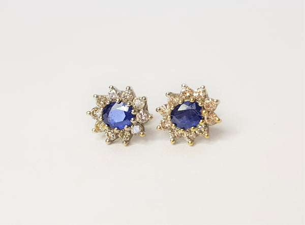 9ct Yellow Gold Oval Sapphire and Diamond Cluster Studs