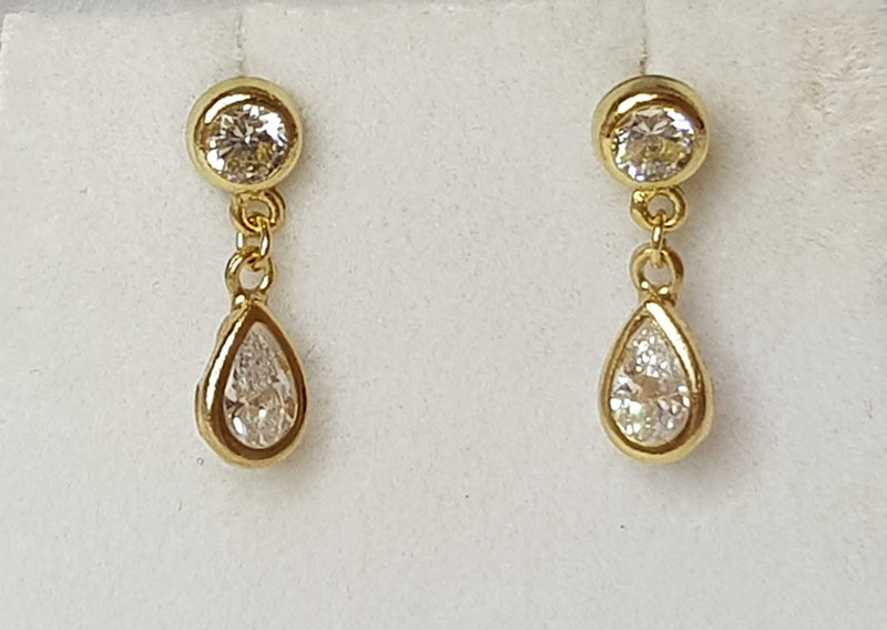 9ct Yellow Gold CZ Bezel Drop Studs