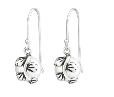 Sterling Silver Pearl Leaf Drop Earrings