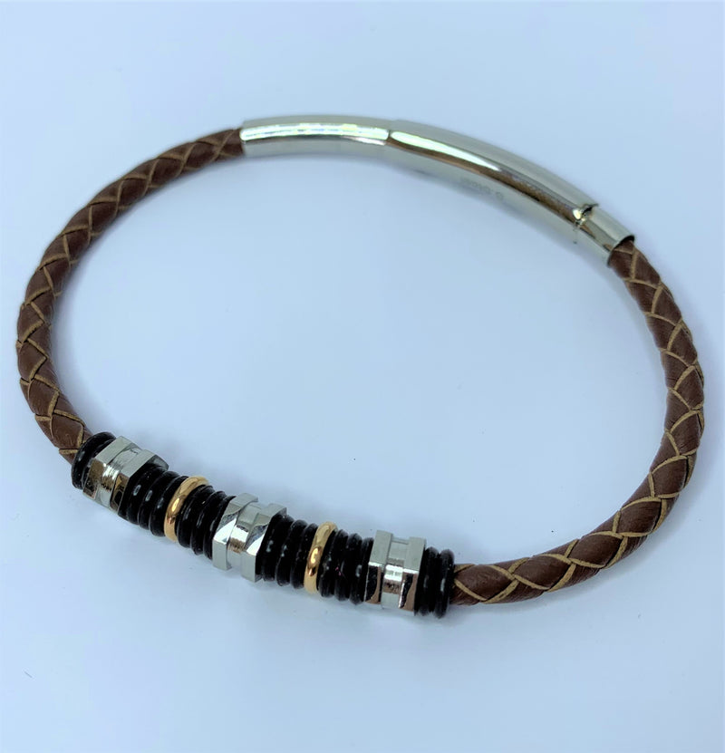 Brown Leather and Stainless Steel Bracelet