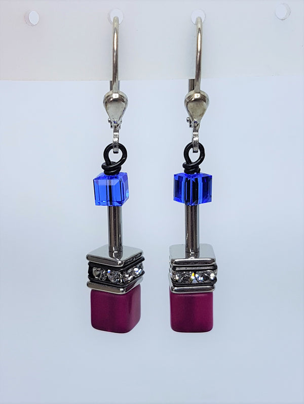 Blue Pink Geo Cube with Polaris/ rhinestone/ glass swarovski  Crystal Earrings