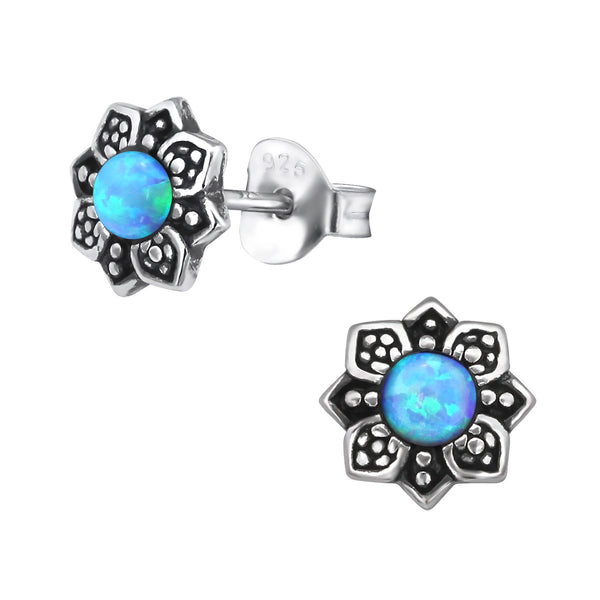 Azure Flower Created Opal Sterling Silver Studs