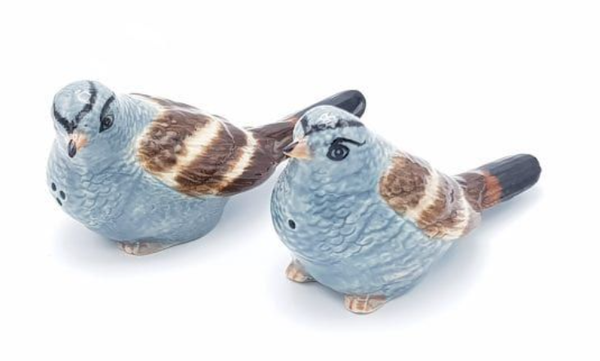 Blue Birds Ceramic Figurine Salt & Pepper Shakers - 5.5cm High Approximately