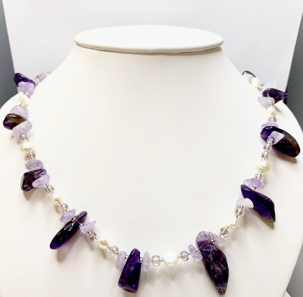 Light and Dark Amethyst and Pearl Necklace
