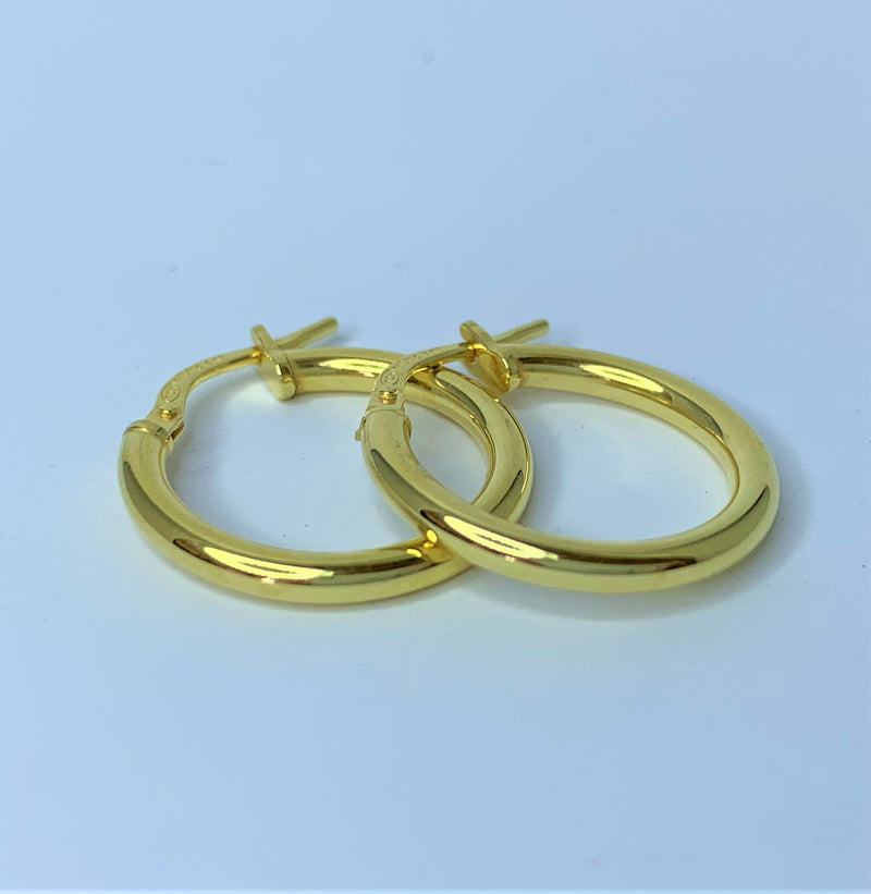 9ct Yellow Gold Silver Filled Plain Hoops