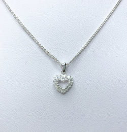 CZ Crystal Heart Sterling Silver Pendant