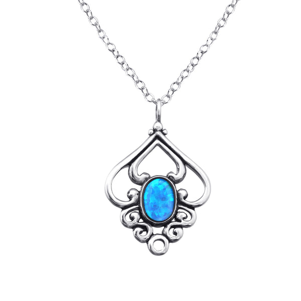 Azure Opal (syn) Bezel Set Sterling Silver Pendant and Chain