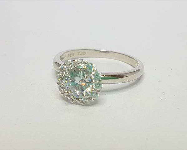 Round CZ with CZ Halo Sterling Silver Ring