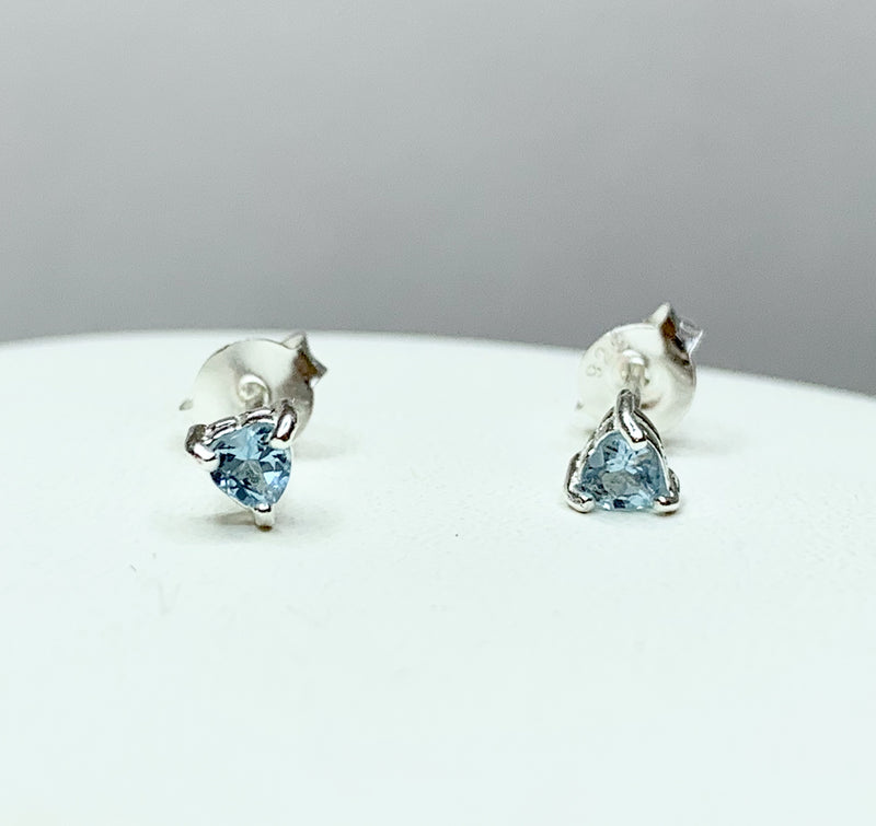 3mm Heart Blue Topaz Sterling Silver Studs