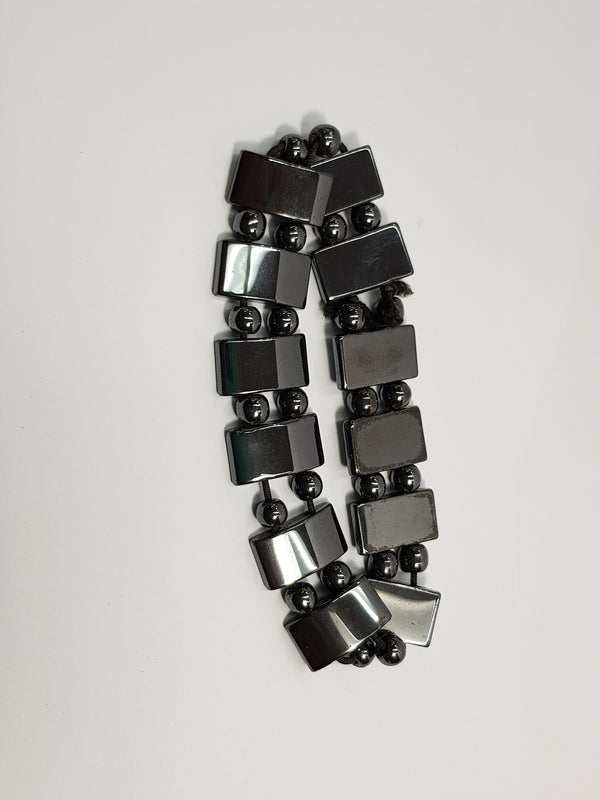 Hematite Ball and Rectangle Bracelet