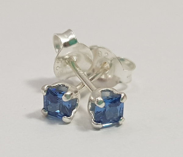 Princess Cut 3mm Sapphire Sterling Silver Studs