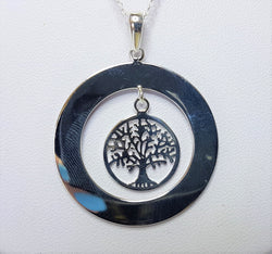 Open Circle Disc with Tree Of Life Sterling Silver Pendant