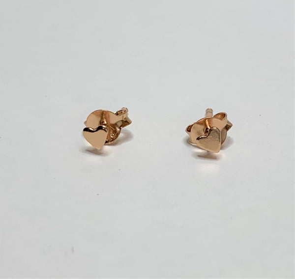 Rose Gold Plate Sterling Silver Heart Studs