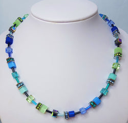 Turquoise/Blue Geo-Cube Necklace