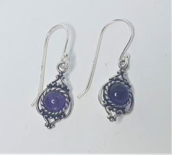 Genuine Amethyst Bezel Set Sterling Silver Drops