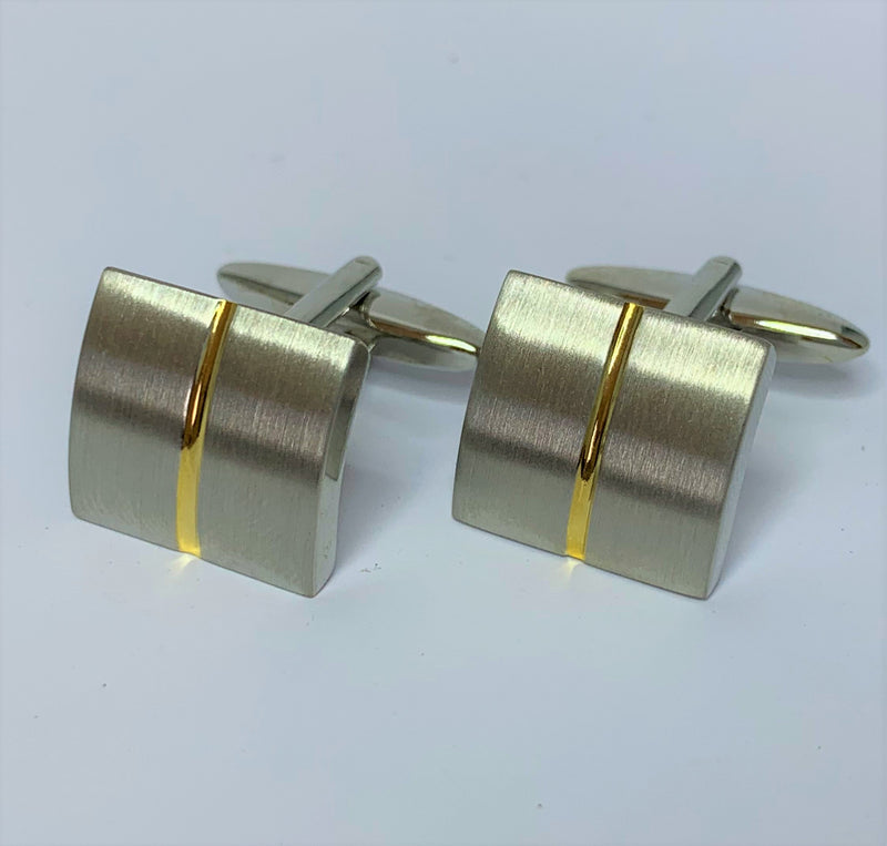 Yellow Gold Plate Stripe Stainless Steel Cuff Links