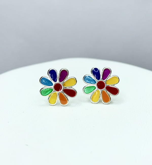 Sterling Silver Flower Ear Studs