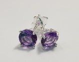 7mm Brilliant Cut Amethyst Sterling Silver Claw Studs