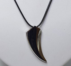 'Tooth' Pendant on Black Cord Necklet - Stainless Steel