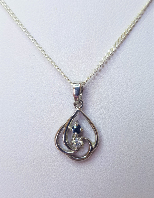Sapphire And Cubic Zirconia Sterlng Silver Swirl Pendant