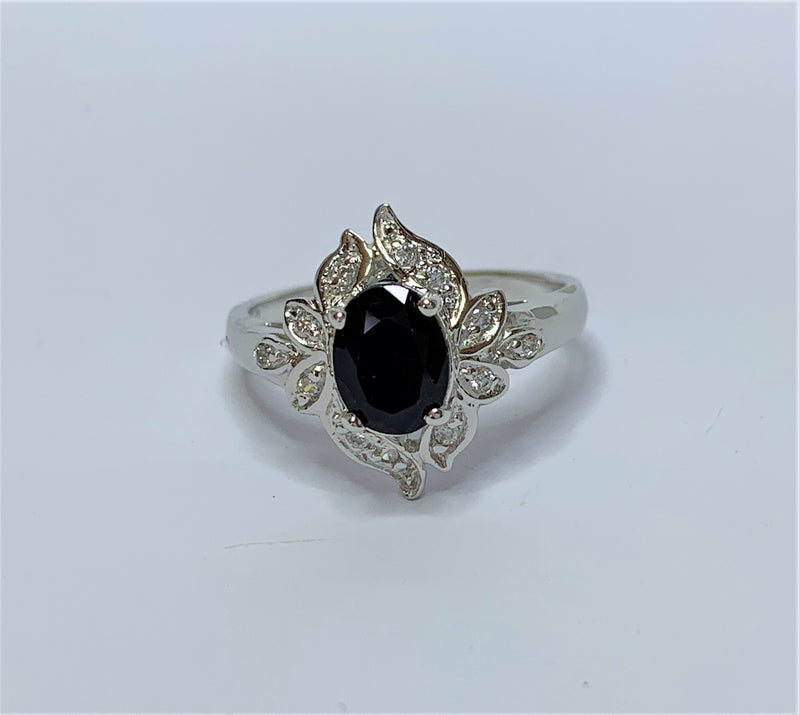 Oval Sapphire and CZ Set Petal Design Sterling Silver Ring
