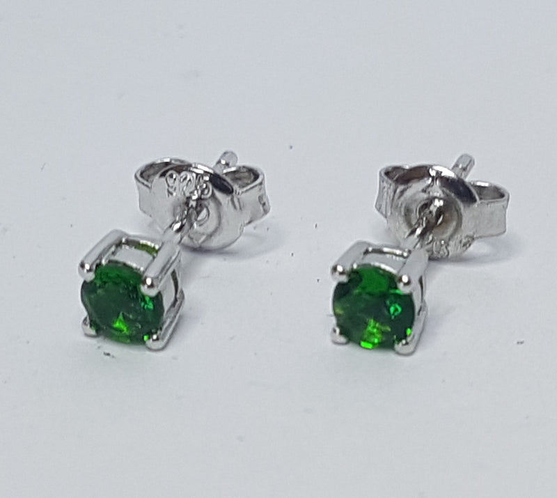 Green 4mm Sterling Silver Studs